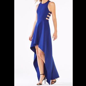 BCBGMaxazria High low cut out formal blue dress